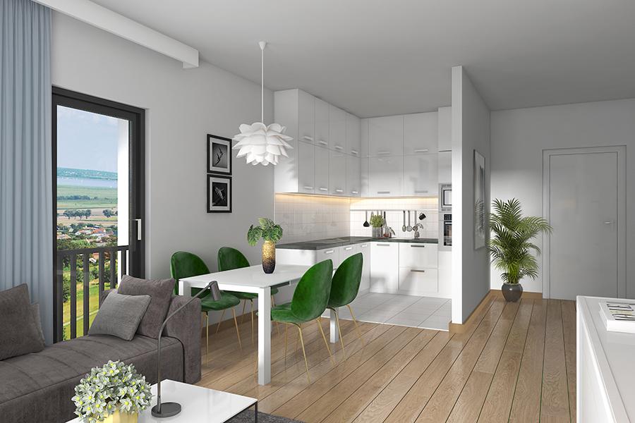 Innenansicht Wohnung mit Blick auf die Küche
