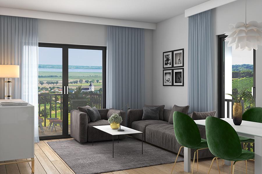 Innenansicht Wohnung mit Blick auf das Wohnzimmer
